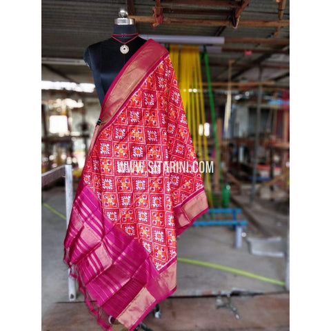 Ikkat Dupattas-Orange and Magenta-Sitarini-PRHIPD138