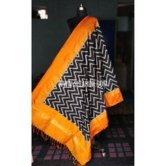 Ikkat Dupattas-Pattu-Black and Dark Yellow-Sitarini-PRHIPD174