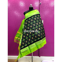 Ikkat Dupattas-Pattu-Black and Parrot Green-Sitarini-PRRHIPD104
