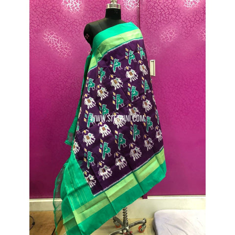 Ikkat Dupattas-Pattu-Dark Magenta and Sea Green-Sitarini-PRRHIPD111