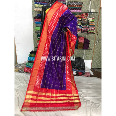 Ikkat Dupattas-Pattu-Dark Purple and Red-Sitarini-PGMHIPD174