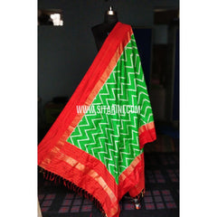 Ikkat Dupattas-Pattu-Green and Red-Sitarini-PRHIPD176