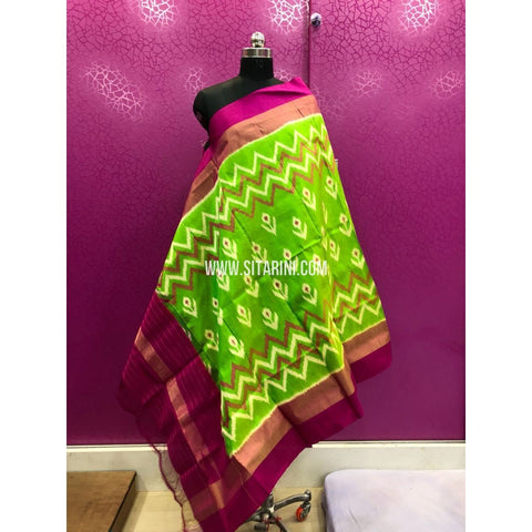 Ikkat Dupattas-Pattu-Light Parrot Green and Magenta-Sitarini-PRRHIPD110
