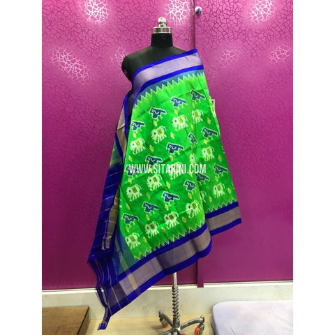 Ikkat Dupattas-Pattu-Parrot Green and Royal Blue-Sitarini-PRRHIPD113