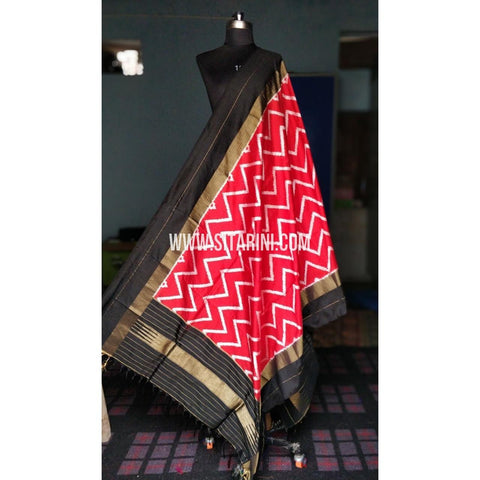 Ikkat Dupattas-Pattu-Red and Black-Sitarini-PRHIPD181
