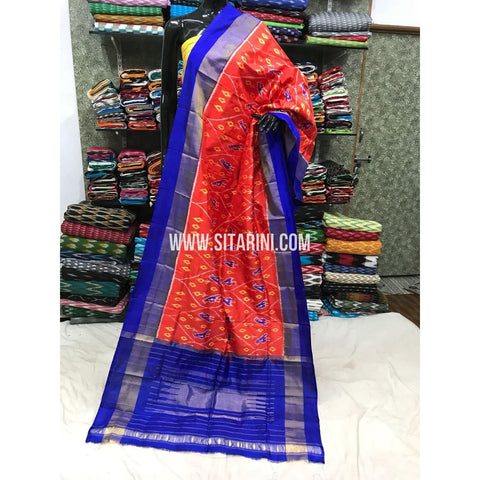Ikkat Dupattas-Pattu-Red and Royal Blue-Sitarini-PGMHIPD176