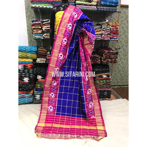 Ikkat Dupattas-Pattu-Royal Blue and Magenta-Sitarini-PGMHIPD167