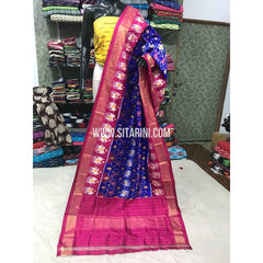 Ikkat Dupattas-Pattu-Royal Blue and Magenta-Sitarini-PGMHIPD170