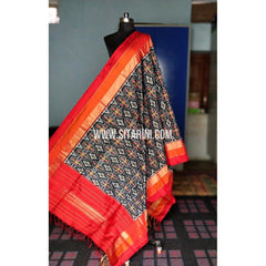 Ikkat Dupattas-Silk-Black and Red-Sitarini-PRHIPD187