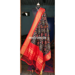 Ikkat Dupattas-Silk-Black and Red-Sitarini-PSHIPD132