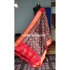 Ikkat Dupattas-Silk-Dark Brown and Dark Pink-Sitarini-PRHIPD191