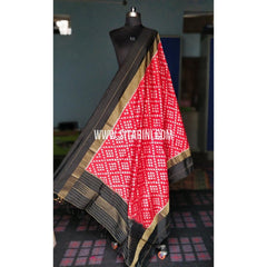 Ikkat Dupattas-Silk-Dark Pink and Black-Sitarini-PRHIPD184