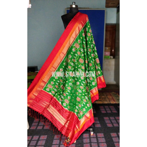 Ikkat Dupattas-Silk-Green and Dark Pink-Sitarini-PRHIPD193