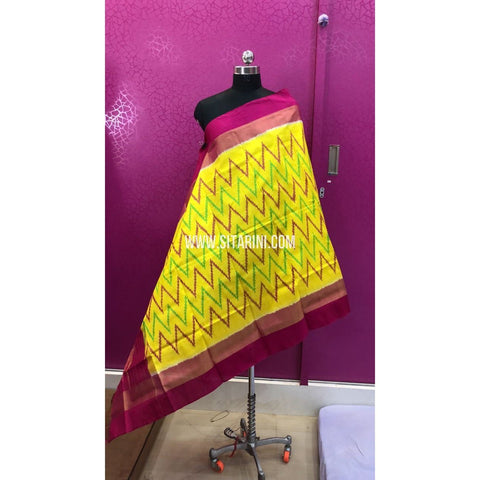 Ikkat Dupattas-Silk-Lemon Yellow and Magenta-Sitarini-PRRHIPD125