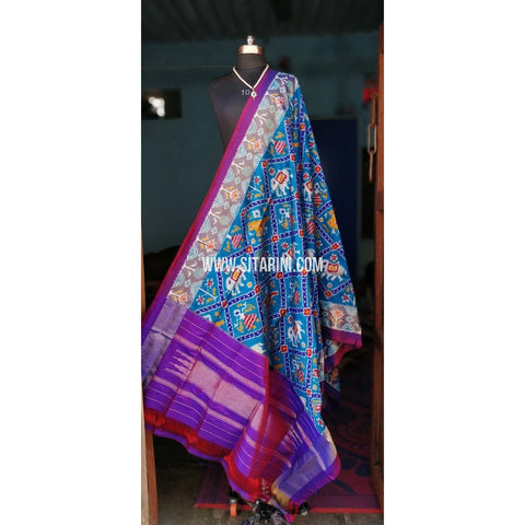 Ikkat Dupattas-Silk-Light Blue and Purple-Sitarini-PSHIPD126