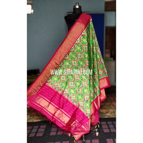 Ikkat Dupattas-Silk-Light Green and Magenta-Sitarini-PRHIPD189