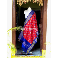 Ikkat Dupattas-Silk-Orange and Royal Blue-Sitarini-PSHIPD101