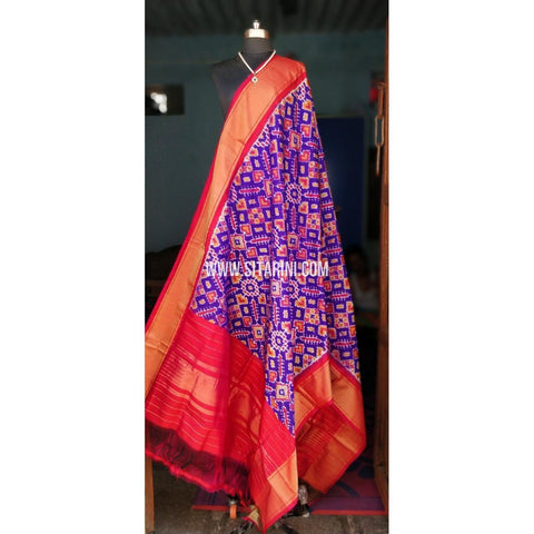 Ikkat Dupattas-Silk-Purple and Dark Pink-Sitarini-PSHIPD135