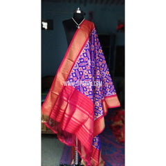 Ikkat Dupattas-Silk-Royal Blue and Pink-Sitarini-PSHIPD130
