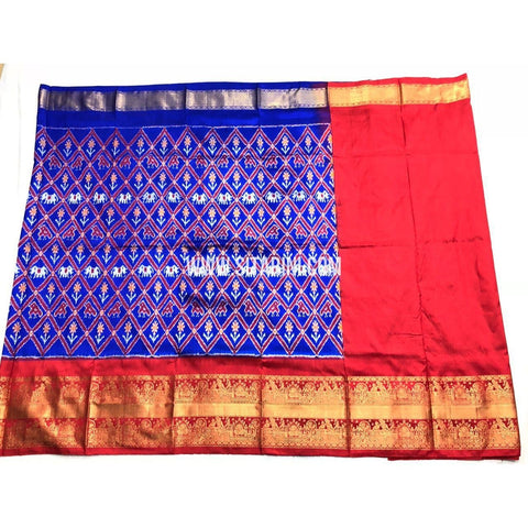 Ikkat Half Saree with Kanchi Border-Blue-PSHIPLE106