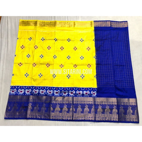 Ikkat Half Saree with Kanchi Border-Yellow and Blue-PSHIPLE103