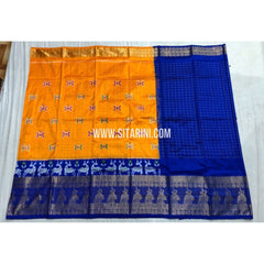 Ikkat Half Saree with Kanchi Border-Yellow and Blue-PSHIPLE104