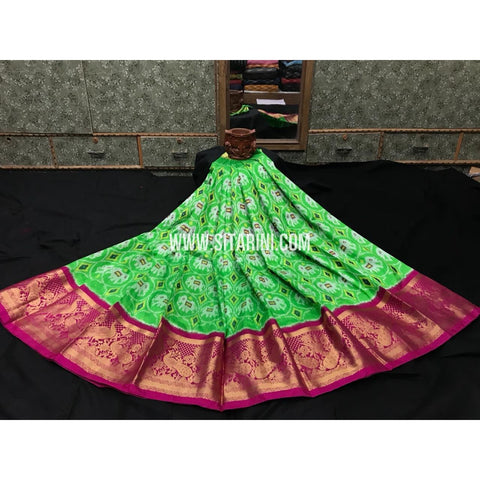 Ikkat Kanchi Border Lehenga-Pattu-Green and Pink-Sitarini-SITEIL120