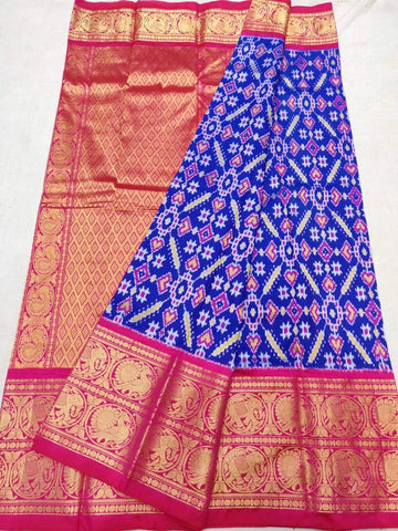 Ikkat Kanchi Border Saree-Pattu-Multi-Colour-Sitarini-SITIKS285