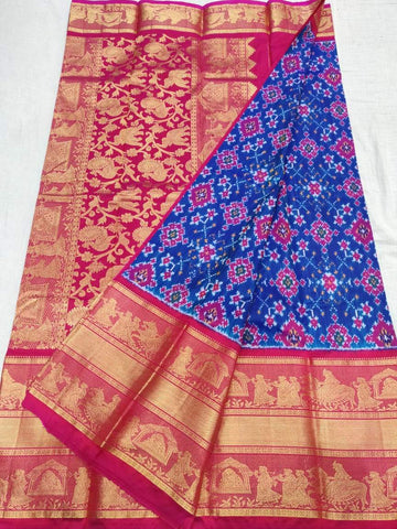 Ikkat Kanchi Border Saree-Silk-Blue and Maroon-Sitarini-SITIKS284