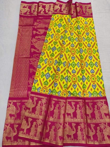 Ikkat Kanchi Border Saree-Silk-Multi-Colour-Sitarini-SITIKS292