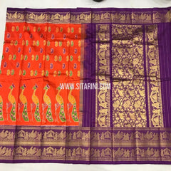 Ikkat Kanchi Border Saree-Silk-Orange-Sitarini-SITIKS140