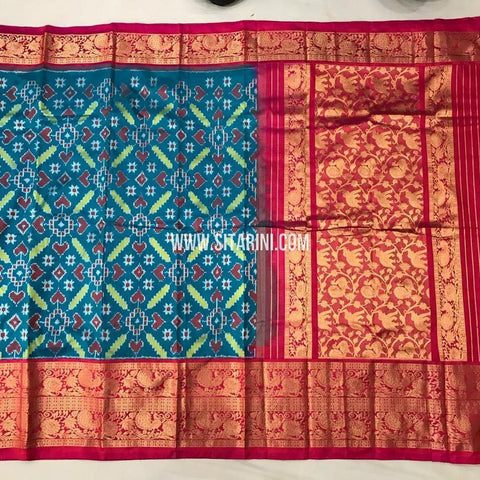 Ikkat Kanchi Border Saree-Silk-Peacock Blue-Sitarini-SITIKS129