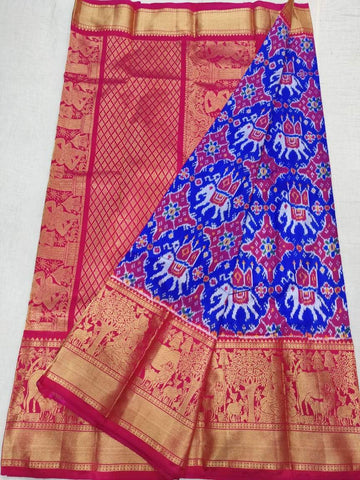 Ikkat Kanchi Pattu Saree-Blue and Maroon-Sitarini-SITIKS286