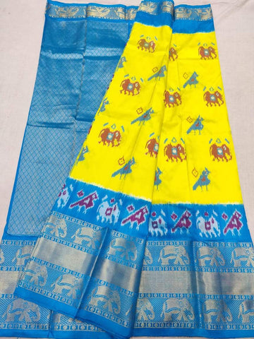 Ikkat Kanchi Pattu Saree-Yellow and Blue-Sitarini-SITIKS282
