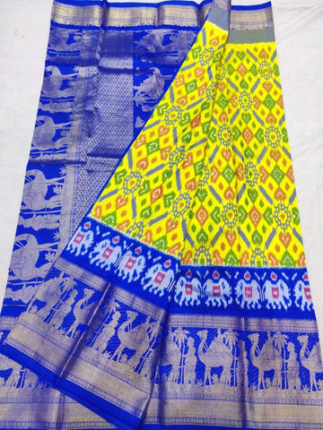 Ikkat Kanchi Pattu Saree-Yellow and Blue-Sitarini-SITIKS290