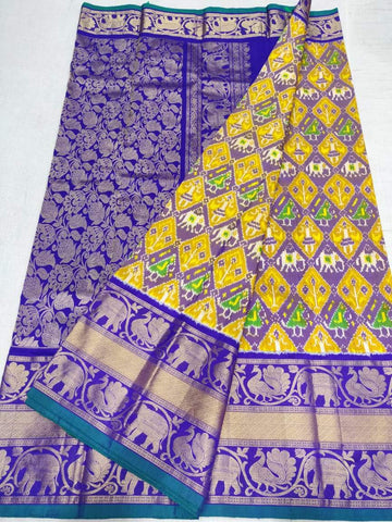 Ikkat Kanchi Saree-Silk-Multi-Colour-Sitarini-SITIKS288