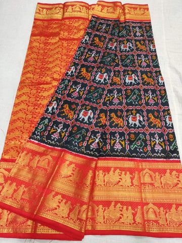 Ikkat Kanchi Silk Saree-Black and Orange-Sitarini-SITIKS287