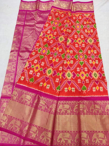 Ikkat Kanchi Silk Saree-Multi-Colour-Sitarini-SITIKS283