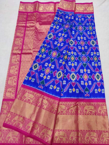 Ikkat Kanchi Silk Saree-Multi-Colour-Sitarini-SITIKS291