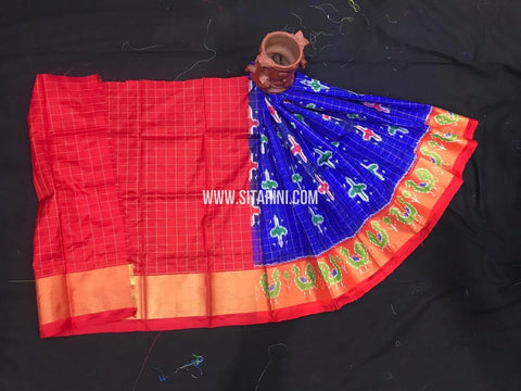 Ikkat Langa For Kids-Pattu-Blue-(0 to 3 Years)-Sitarini-SITKIL522
