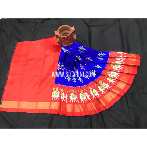 Ikkat Lehenga For Kids-Blue And Orange-0 to 3 Years-Sitarini-SITKIL209