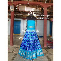 Ikkat Lehenga For Kids-Pattu-Blue-3 to 8 Years-Sitarini-SITMIL216