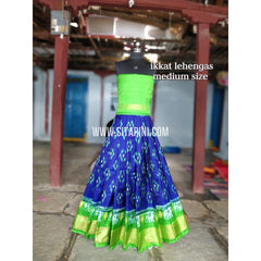 Ikkat Lehenga For Kids-Pattu-Blue and Green-3 to 8 Years-Sitarini-SITMIL197