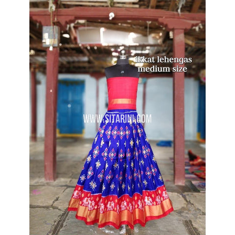 Ikkat Lehenga For Kids-Pattu-Blue and Pink-3 to 8 Years-Sitarini-SITMIL221