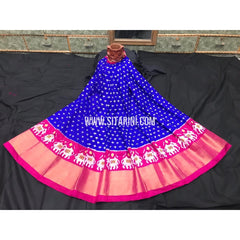 Ikkat Lehenga For Kids-Pattu-Blue and Pink-3 to 8 Years-Sitarini-SITMIL227