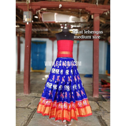 Ikkat Lehenga For Kids-Pattu-Blue and Red-3 to 8 Years-Sitarini-SITMIL217