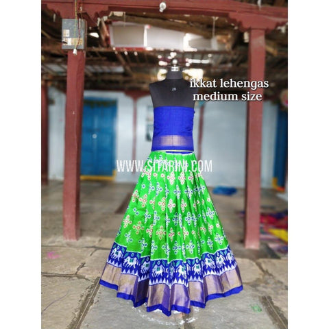 Ikkat Lehenga For Kids-Pattu-Green and Blue-3 to 8 Years-Sitarini-SITMIL209