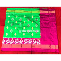 Ikkat Lehenga For Kids-Pattu-Green and Pink-3 to 8 Years-Sitarini-SITMIL266