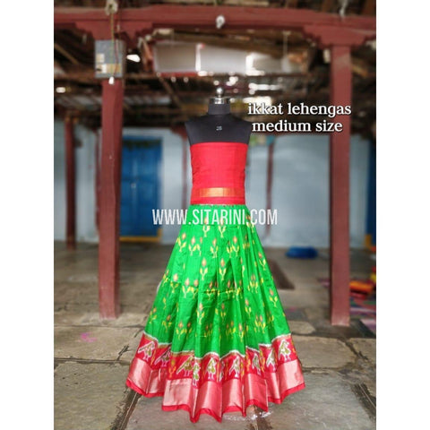 Ikkat Lehenga For Kids-Pattu-Green and Red-3 to 8 Years-Sitarini-SITMIL199