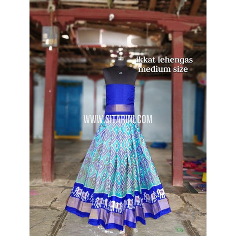 Ikkat Lehenga For Kids-Pattu-Multicolor-3 to 8 Years-Sitarini-SITMIL208